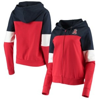 ニューエラ レディース パーカー・スウェット アウター Los Angeles Angels New Era Women's Colorblock French Terry Full-Zip Hoodie R
