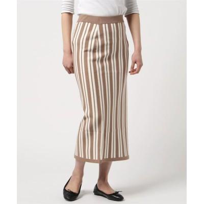 スカート Stripe mix sweater skirt