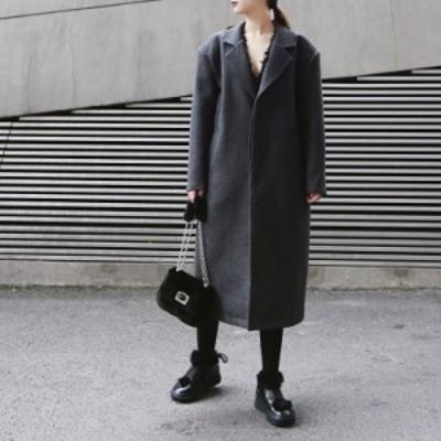 モード系 アウター コート ミモレ丈 ウール シンプル 大人きれいめ 通勤着  オルチャン 韓国ファッション 原宿系 10代 20代
