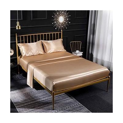 【並行輸入品】ZRONGQF Bed Sheet Set Opulence Satin Full Sheet Set Silk Soft and Silky Sheet Set Hotel Luxury Bed Sheets (Color : Came
