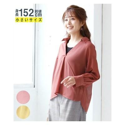 Tシャツ カットソー 小さいサイズ レディース ジョーゼット シャツ ブラウス  SS/S ニッセン nissen
