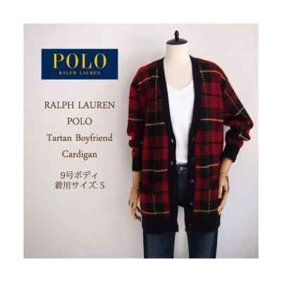【SALE】【Polo by Ralph Lauren】ポロ ラルフローレン タータンチェック モヘア カーディガン/REDセーター