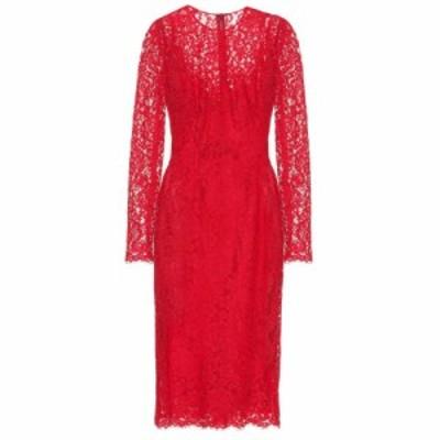 ドルチェ&ガッバーナ Dolce & Gabbana レディース パーティードレス ワンピース・ドレス Cotton-blend lace midi dress Bright Red