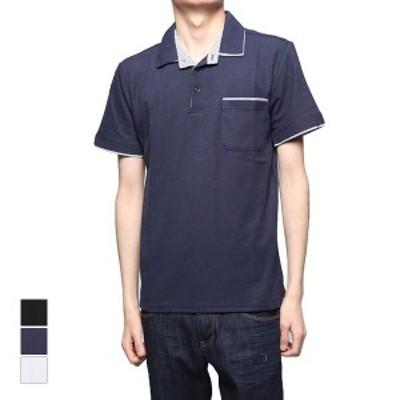 ポロシャツ 半袖 カノコトップス ストライプ柄 W衿 ダブル衿 スキッパー トップス メンズ ブラック ネイビー ホワイト SALE セール