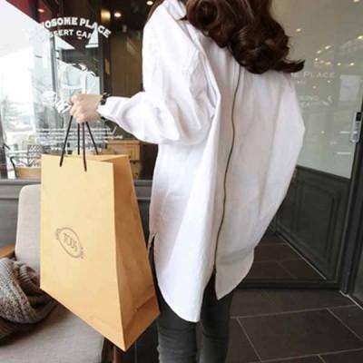 ファッション レディース 背面ジップアップ ホワイトコットンシャツ vivishow
