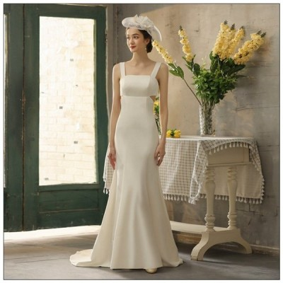 ウェディグドレス 花嫁 二次会 結婚式 マーメイドラインドレス 大きいサイズ 白 パーティードレス ロングドレス 海外挙式 トレーン オフホワイト