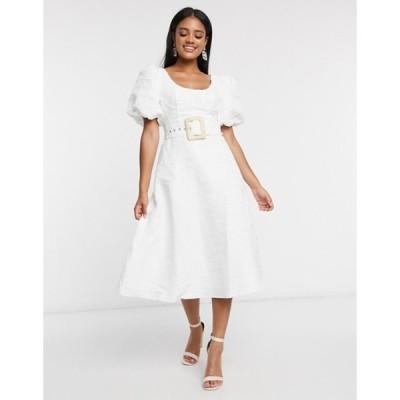 エイソス レディース ワンピース トップス ASOS DESIGN cupped midi dress with belt and puff sleeves in texture in white