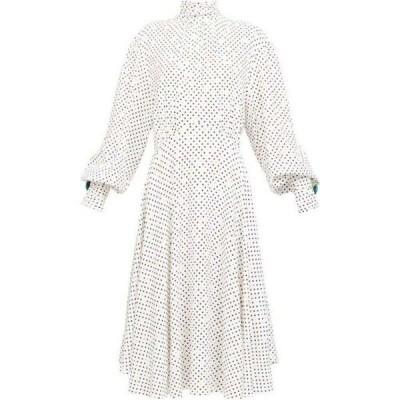 クリストファー ケイン Christopher Kane レディース パーティードレス ミドル丈 ワンピース・ドレス Bishop-sleeve polka dot midi dress White