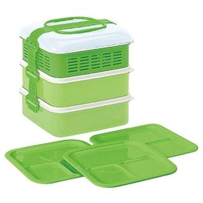 サンコープラスチック 弁当箱 ピクニックケース リオパック 3段 取り皿3枚付き グリーン 約W202×D190×H200mm