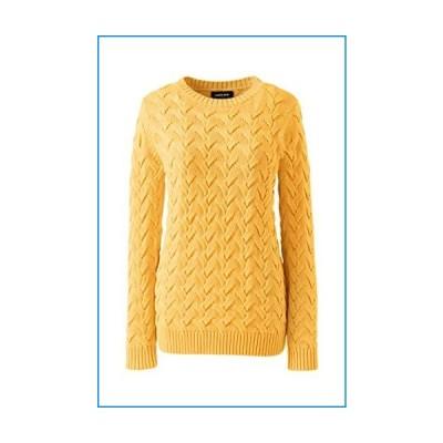 Lands' End Womens Drifter Cotton Crew Neck Sweater Amber Yellow Plus 1X【並行輸入品】