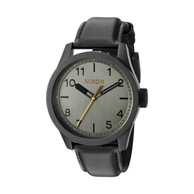 Nixon Men's 'Safari' Quartz Stainless Steel and Leather Watch, Color:Black (Model: A9752430)