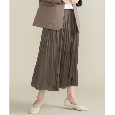 【シェアパーク】 サテンプリーツロングスカート レディース ダークブラウン系 0 SHARE PARK