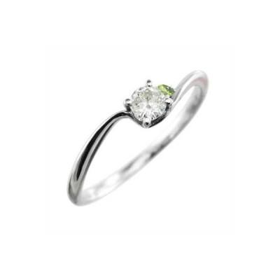指輪 ペリドット 天然ダイヤモンド k18ホワイトゴールド
