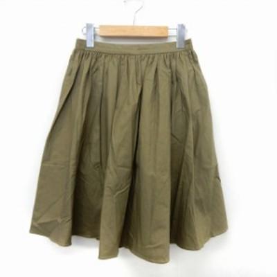 【中古】アーバンリサーチ URBAN RESEARCH スカート フレア ギャザー ウエストゴム シンプル F カーキ /ST16
