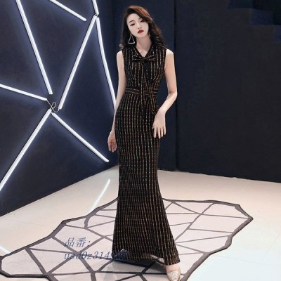 黒 マーメイドドレス ノースリーブ イブニングドレス ロング 30代 二次会ドレス 50代 パーティー お呼ばれ リボン 40代 タイト Vネック