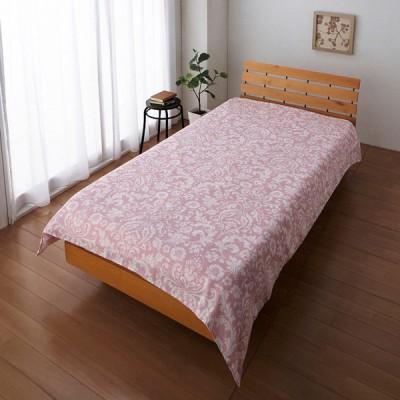 ガーゼ素材の毛布用カバー オーナメント柄 ピンク シングル