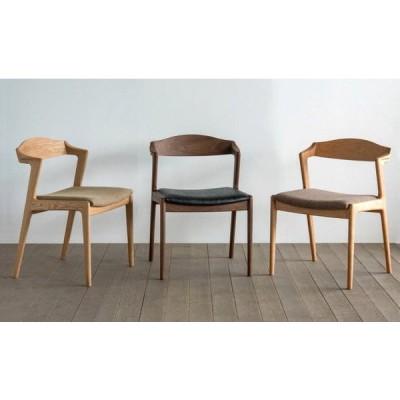 ダイニングチェア 椅子 イス ユナ セミアームチェア 受注生産 布張り 合皮 革張り 食堂 食卓 シンプル シャープ オイル仕上げ ウレタン塗装 国産 日本製