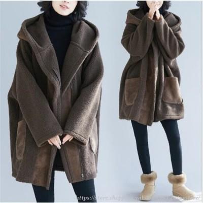 ムートンコート レディース アウター ムートン ロング丈 長袖 コート フェイクファー フード付き ゆったり 大きいサイズ 防寒 暖かい ふわふわ 秋物 新作