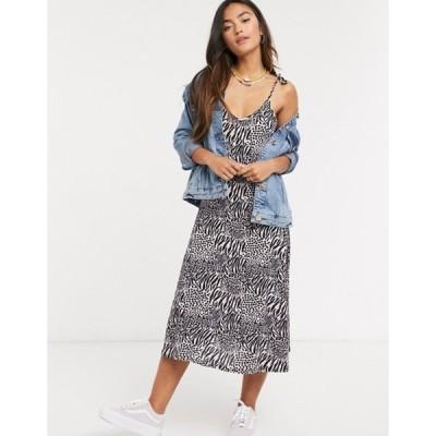 キューイーディーロンドン レディース ワンピース トップス QED London cami strap slip dress in zebra print