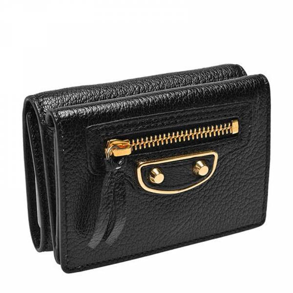 Balenciaga 470059 金框 Edge 山羊皮短夾零錢包 黑色