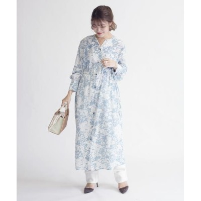 SHIPS for women/シップスウィメン プリントワンピース ライトグリーン ONE SIZE