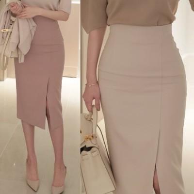 スリット入りタイトスカート シンプル無地 オフィス デート 4色