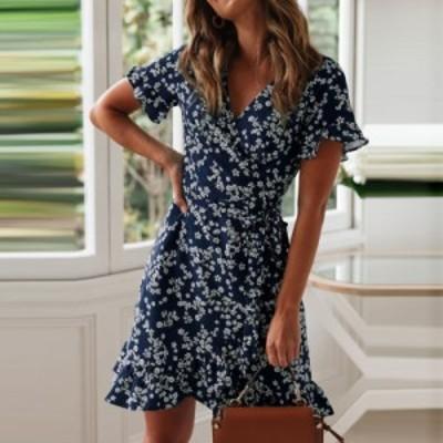 レディースファッションツ  Boho Floral Print Ruffles Women Dress 2019 Summer S