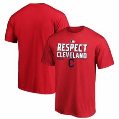 """ファナティックス メンズ Tシャツ """"Cleveland Indians"""" Fanatics Branded 2020 Postseason Locker Room T-Shirt - Red"""