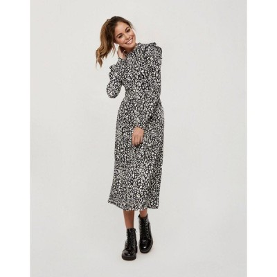 ミスセルフフリッジ レディース ワンピース トップス Miss Selfridge midi dress in black animal print Black