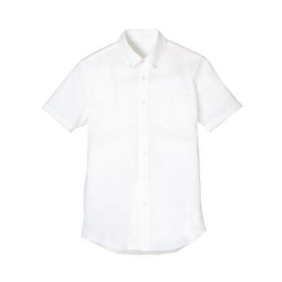【次世代ノーアイロン】 メンズ ボタンダウンシャツ(半袖) FB5022M-15 ホワイト 5L