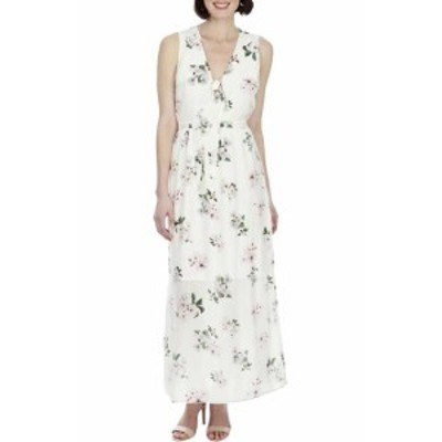lucky ラッキー ファッション ドレス Lucky Brand Neutral Multi Sleeveless Silk Floral-Print Maxi Dress S