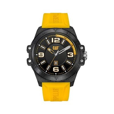 CAT Nomad Yellow/Black Men Watch, 46.5 mm case, Black face, Date Display, Carbon Fiber case, Yellow Silicone Strap, Black dial (K0.161.27.137) 並行