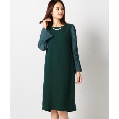【ミューズ リファインド クローズ】 バックサテンサックドレス レディース グリーン M MEW'S REFINED CLOTHES