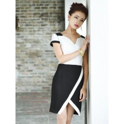 キャバ ドレス ワンピース パーティードレス リューユ Ryuyu バイカラー モノトーン 袖付き シンプル ナイトドレス
