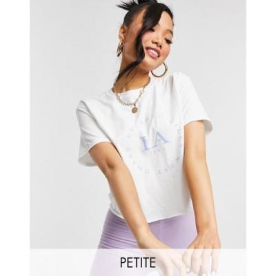 ミス セルフリッジ Miss Selfridge Petite レディース Tシャツ トップス 'LA' slogan t-shirt in white ホワイト