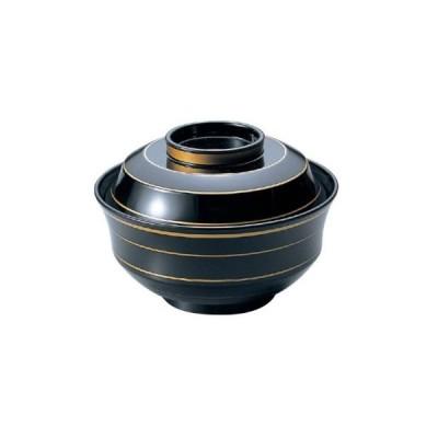 お椀 蓋付き 4寸 天竜寺椀黒金ライン 耐熱ABS樹脂 食器洗浄機対応 f6-241-3