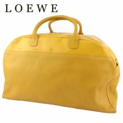 ロエベ ボストンバッグ トラベルバッグ 旅行用バッグ レディース メンズ アナグラム イエロー ゴールド LOEWE 中古 B1191