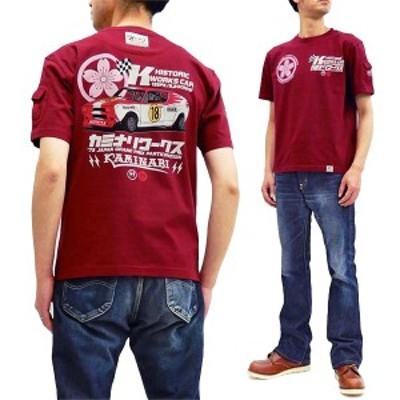 カミナリ Tシャツ KMT-206 昭和 旧車柄 カミナリワークス チェリーX1-R エフ商会 雷 メンズ 半袖tee ワイン 新品