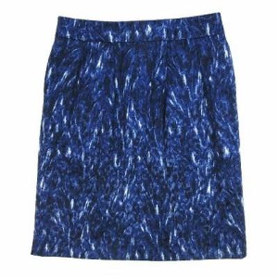 【中古】自由区 オンワード樫山 タイト スカート 膝丈 総柄 ジャガード サイズ40 青 ブルー レディース