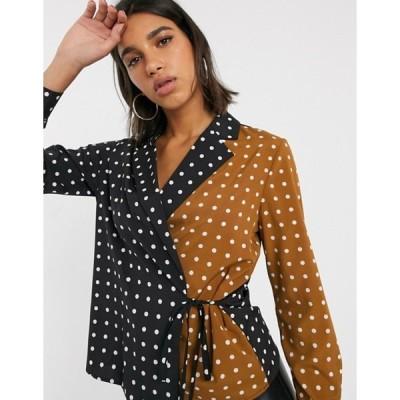 ユニークトゥエンティワン レディース シャツ トップス Unique21 wrap contrast polka dot tie blouse
