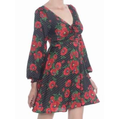 Free People フリーピープル ファッション ドレス Free People Womens Black Size 8 Floral Cinched V-Neck Sheath Dress