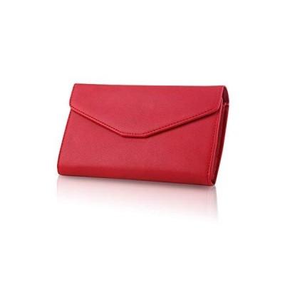 [zaltkaten] 財布 レディース 手帳型 パスポートケース メンズ 大きめ 長財布 メモ帳 大容量 カードケース 収納 多機能 wallet (レッド)