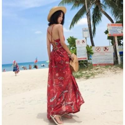 サマードレス 安い 可愛い バカンス ドレス オープンバック キャミ リゾート 海 ビーチ ロング 夏 おしゃれ 柄物 Vネック トロピカル