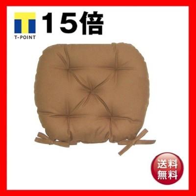 バテイ型 シートクッション/座布団 〔ブラウン〕 厚み6cm 紐付き 洗える 日本製