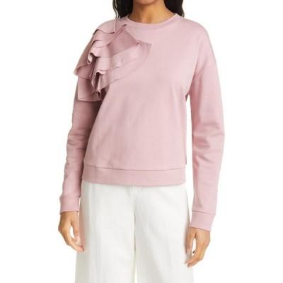 テッドベーカー TED BAKER LONDON レディース スウェット・トレーナー トップス Ruffle Shoulder Sweatshirt Pink