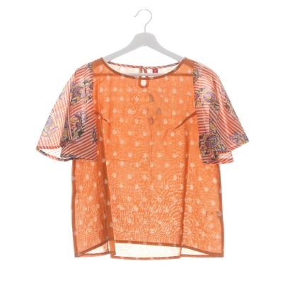 【チャイハネ】インド綿ブロックプリント風トップス オレンジ