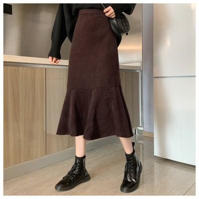ハイウエスト裾フレアAラインスカート