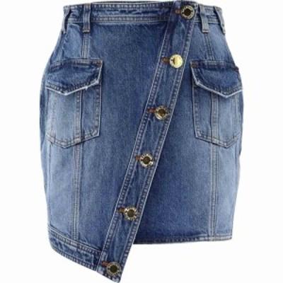 バルマン Balmain レディース ミニスカート デニム スカート Asymmetric Denim Skirt Light Blue