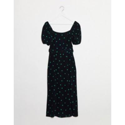 ニュールック レディース ワンピース トップス New Look square neck belted midi dress in polka dot Black pattern