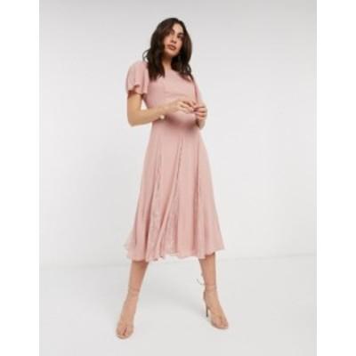 エイソス レディース ワンピース トップス ASOS DESIGN midi dress with lace panels and blouson bodice Misty rose